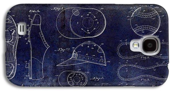 Base Galaxy S4 Cases - Baseball Patent Blue Galaxy S4 Case by Jon Neidert