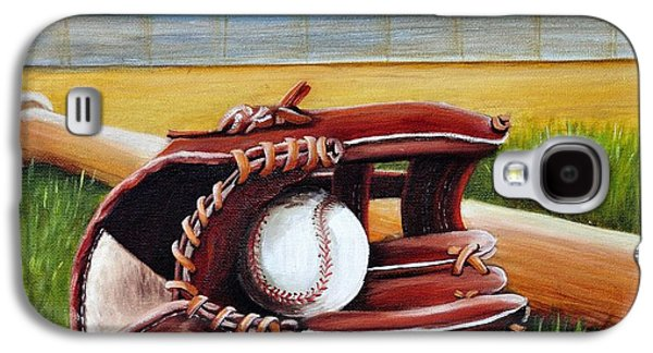 Baseball Glove Paintings Galaxy S4 Cases - Baseball Galaxy S4 Case by Adriana Fox