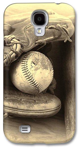 Slam Galaxy S4 Cases - Baseball And Baseball Bat Galaxy S4 Case by Dan Sproul