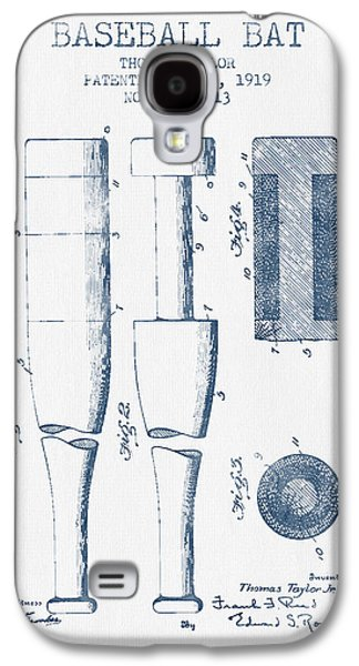 Baseball Bat Patent From 1919 - Blue Ink Galaxy S4 Case by Aged Pixel