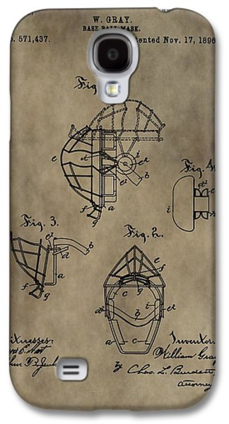 Gear Mixed Media Galaxy S4 Cases - Baseball Catchers Mask Patent Galaxy S4 Case by Dan Sproul