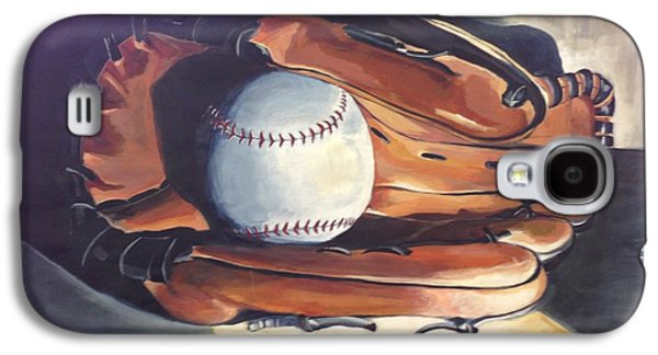 Baseball Glove Paintings Galaxy S4 Cases - Baseball Glove in Light Galaxy S4 Case by Harriet Edwards