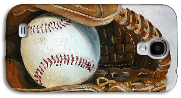 Baseball Glove Paintings Galaxy S4 Cases - Baseball Mitt Galaxy S4 Case by Abra Johnson