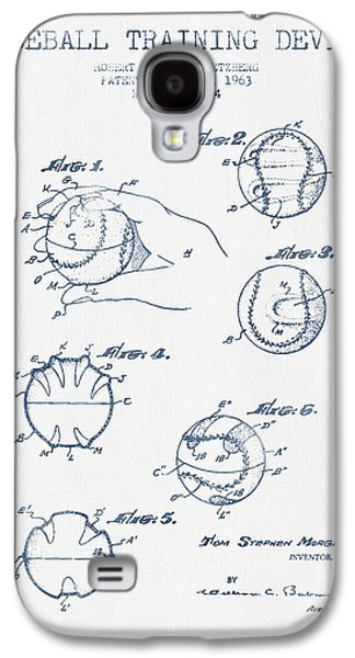 Baseball Training Device Patent Drawing From 1963 - Blue Ink Galaxy S4 Case by Aged Pixel
