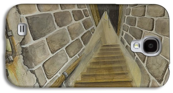 Animation Paintings Galaxy S4 Cases - Basement Stairs Galaxy S4 Case by Brenda Salamone