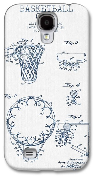 Basketball Goal Patent From 1936 - Blue Ink Galaxy S4 Case by Aged Pixel