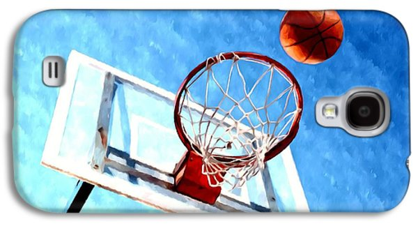Basket Ball Paintings Galaxy S4 Cases - Basketball hoop and ball 1 Galaxy S4 Case by Lanjee Chee