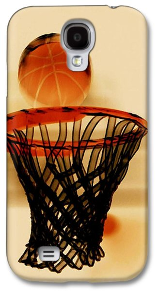 Basket Ball Paintings Galaxy S4 Cases - Basketball hoop and basketball ball 1 Galaxy S4 Case by Lanjee Chee