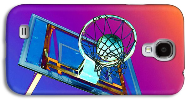 Basket Ball Paintings Galaxy S4 Cases - Basketball hoop and basketball ball Galaxy S4 Case by Lanjee Chee