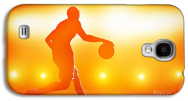 Basket Ball Game Galaxy S4 Cases - Basketball player dribbling with ball Galaxy S4 Case by Michal Bednarek