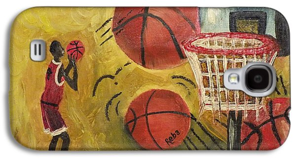 Basket Ball Paintings Galaxy S4 Cases - Basketball Galaxy S4 Case by Reba Baptist