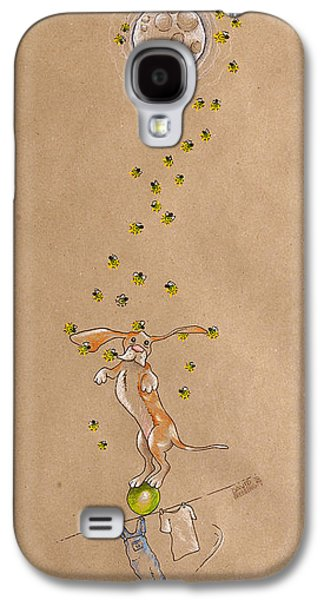 Hounds Galaxy S4 Cases - Basset Hound and Fireflies Galaxy S4 Case by David Breeding