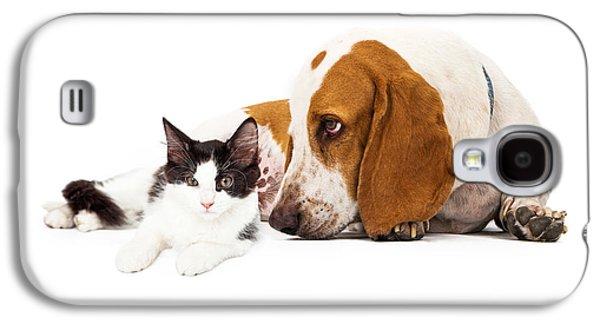Studio Photographs Galaxy S4 Cases - Basset Hound Dog And Kitten Galaxy S4 Case by Susan  Schmitz
