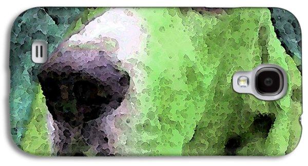 Dog Framed Prints Digital Art Galaxy S4 Cases - Basset Hound - Pop Art Green Galaxy S4 Case by Sharon Cummings