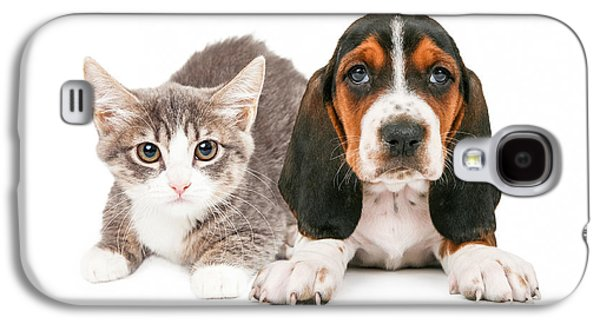 Cutouts Galaxy S4 Cases - Basset Hound Puppy and Kitten Galaxy S4 Case by Susan  Schmitz