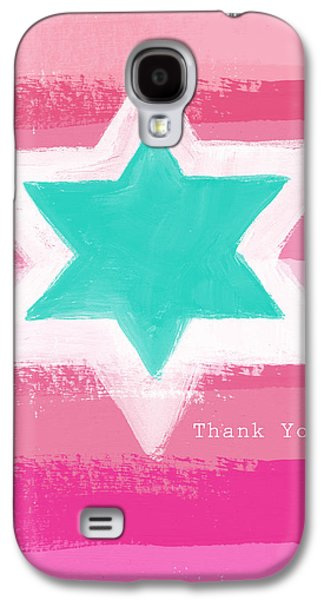Painted Mixed Media Galaxy S4 Cases - Bat Mitzvah Thank You Card Galaxy S4 Case by Linda Woods