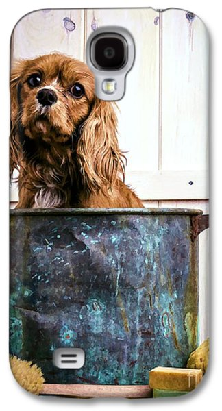 Cute Puppy Galaxy S4 Cases - Bath Time - King Charles Spaniel Galaxy S4 Case by Edward Fielding