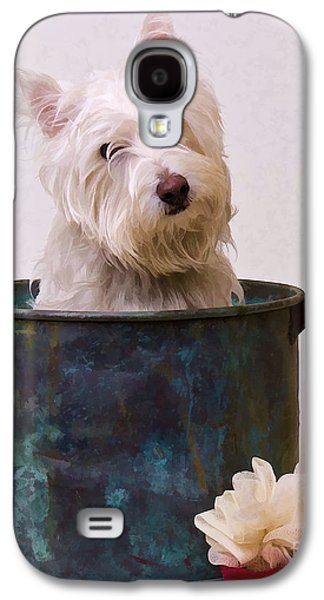 Puppy Digital Art Galaxy S4 Cases - Bath Time Westie Galaxy S4 Case by Edward Fielding