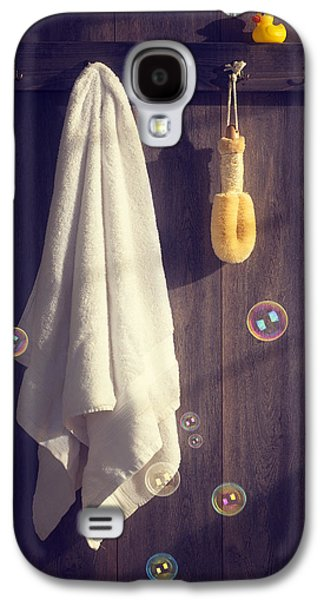 Wooden Door Galaxy S4 Cases - Bathroom Towel Galaxy S4 Case by Amanda And Christopher Elwell