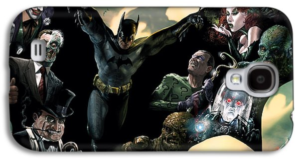 Dark Digital Art Galaxy S4 Cases - Batman and Foes Galaxy S4 Case by Ryan Barger