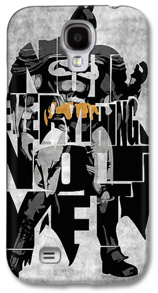 Wall Galaxy S4 Cases - Batman Inspired Typography Poster Galaxy S4 Case by Ayse Deniz