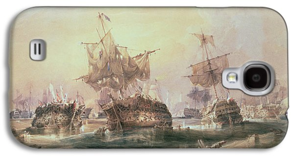 Boats In Water Paintings Galaxy S4 Cases - Battle of Trafalgar Galaxy S4 Case by William John Huggins