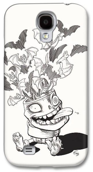 Creepy Drawings Galaxy S4 Cases - Batty Galaxy S4 Case by Richard Moore