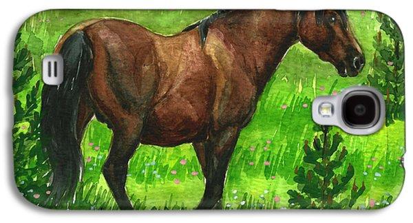 Saving Paintings Galaxy S4 Cases - Bay Alberta Stallion Galaxy S4 Case by Linda L Martin