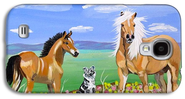 Green Galaxy S4 Cases - Bay colt Golden Palomino and Pal Galaxy S4 Case by Phyllis Kaltenbach