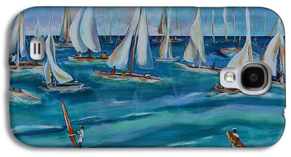 Sailboat Ocean Paintings Galaxy S4 Cases - Bay Regatta Galaxy S4 Case by Lynn Rattray