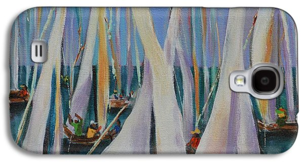 Sailboat Ocean Paintings Galaxy S4 Cases - Bay Sails 2 Galaxy S4 Case by Lynn Rattray