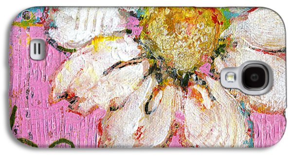 Be Happy Daisy Flower Painting Galaxy S4 Case by Blenda Studio