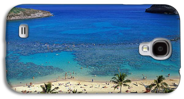Beach Towel Galaxy S4 Cases - Beach At Hanauma Bay Oahu Hawaii Usa Galaxy S4 Case by Panoramic Images