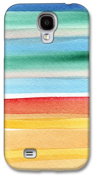Beach Landscape Galaxy S4 Cases - Beach Blanket- colorful abstract painting Galaxy S4 Case by Linda Woods