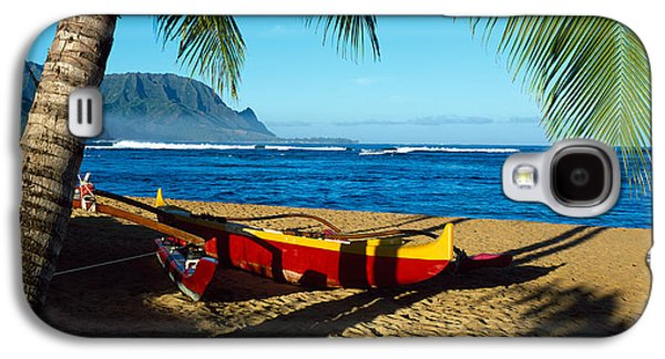 Grey Clouds Galaxy S4 Cases - Beach Boat Hanalei Bay Kauai Hi Usa Galaxy S4 Case by Panoramic Images