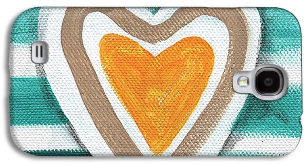 Glass Wall Galaxy S4 Cases - Beach Glass Hearts Galaxy S4 Case by Linda Woods