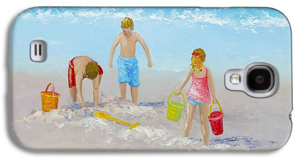 Beach Painting - Sandcastles Galaxy S4 Case by Jan Matson