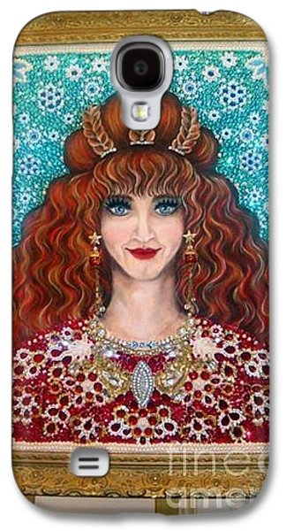 Beadwork Jewelry Galaxy S4 Cases - Beadwork art Sarah Goldberg my mom beauty Queen Galaxy S4 Case by Sofia Metal Queen