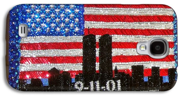 Beadwork Jewelry Galaxy S4 Cases - USA flag New York 9.11.01 - Beadwork 9.11 - bead embroidery  Galaxy S4 Case by Sofia Metal Queen