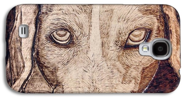 Puppies Pyrography Galaxy S4 Cases - Beagle Bailey Galaxy S4 Case by Lindsee Pitsch