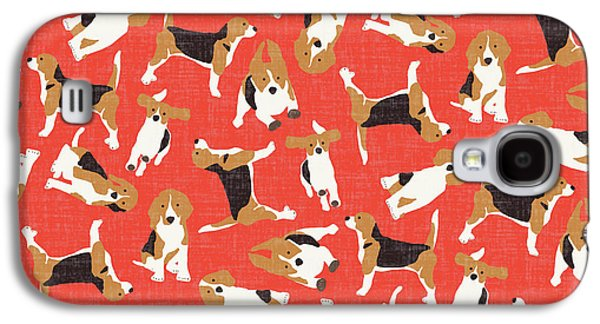 Beagle Scatter Coral Red Galaxy S4 Case by Sharon Turner