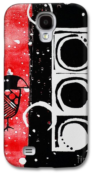 Linocut Paintings Galaxy S4 Cases - Beak in Red and Black Galaxy S4 Case by Cynthia Lagoudakis