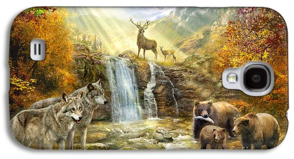 Wolves Digital Galaxy S4 Cases - Bear Falls Galaxy S4 Case by Jan Patrik Krasny