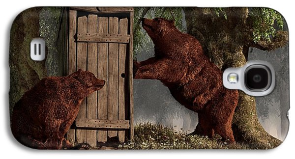 Bear Digital Galaxy S4 Cases - Bears Around The Outhouse Galaxy S4 Case by Daniel Eskridge