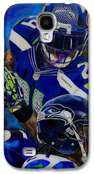 Lebron Paintings Galaxy S4 Cases - Marshawn Lynch BEAST MODE Galaxy S4 Case by Chris Eckley