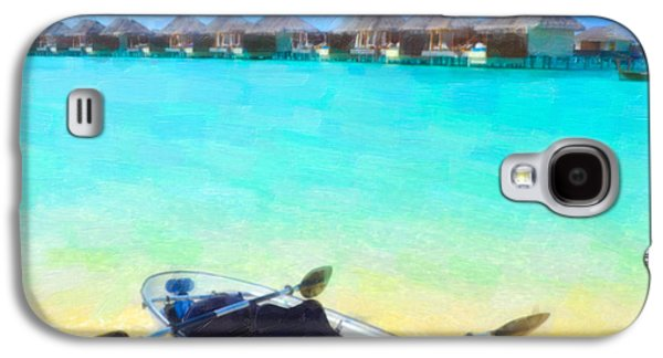 Beautiful Beach With Water Bungalows At Maldives Galaxy S4 Case by Lanjee Chee