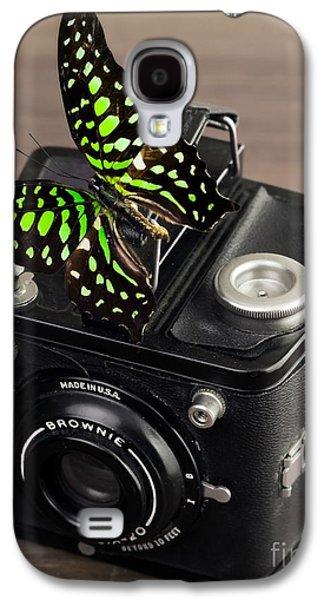 Elegance Photographs Galaxy S4 Cases - Beautiful Butterfly on a Kodak Brownie Camera Galaxy S4 Case by Edward Fielding