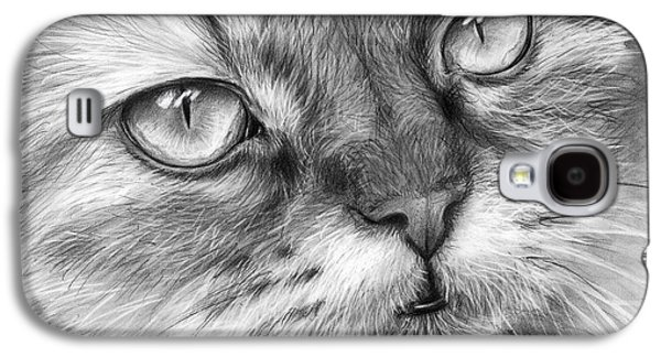 Black Drawings Galaxy S4 Cases - Beautiful Cat Galaxy S4 Case by Olga Shvartsur