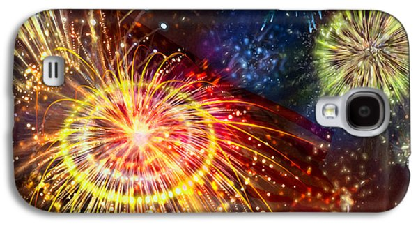 4th July Paintings Galaxy S4 Cases - Beautiful fireworks 8 Galaxy S4 Case by Lanjee Chee