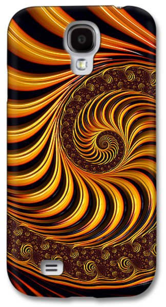 Abstract Digital Art Galaxy S4 Cases - Beautiful golden fractal spiral artwork  Galaxy S4 Case by Matthias Hauser